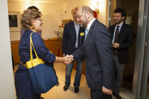 Martin Shulz, Presidente Parlamento Europeo incontra Elisabetta Antognoni, Presidente Cinemovel Foundation